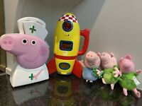Peppa Pig Space Rocket With Action Sounds George Ty Soft Toy Doctors Set Bundle
