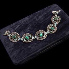 Antique Vintage Art Nouveau Sterling Silver Russian Filigree Enamel Bracelet