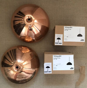 Tom Dixon Copper Void Pendant lights pair with cables and ceiling roses