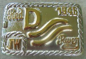 "JOHN WAYNE ""RED RIVER"" Belt Buckle-new 1946 JW INITIALS 2-TONE GOLD ON SILVER"