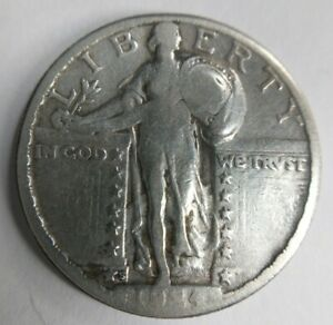 1924 S Standing Liberty Quarter 25c Fine F or Very Fine VF Detail Cleaned