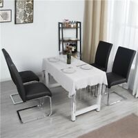 Dining Chairs PU Leather Modern Dining Room Chairs Metal Home Kitchen Black 2PCS