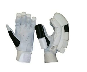 Cricket Batting Gloves White and Black Leather Palm Mens LH