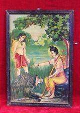 Old Vintage Ravi Varma Press Print Ram Laxman with Frame Collectible PO-17