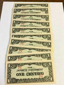 "10 x JAPANESE INVASION MONEY WW2, 1942 PHILIPPINES 1 CENTAVO ""PK"", AU/UNC"