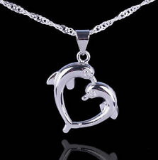 """Love Charm Sterling Silver Dolphin Necklace Pendant with 18"""" Chian Gift Box L32"""