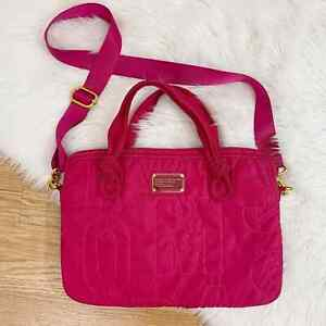 Marc by Marc Jacobs Magenta Nylon Laptop Crossbody Bag EUC Quilted Padded Work