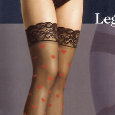 PLUS SIZE WOVEN RED HEART WHITE LACE TOP SHEER THIGH HI STOCKINGS BY LEG AVENUE