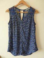 Just Jeans Lace Insert Printed Tank Top Size 10 EUC