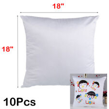 "10Pcs 18"" x 18"" White Sublimation Blanks PillowCase Cushion Cover DIY Heat Press"