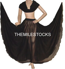 TMS BLACK Chiffon Skirt Veil Belly Costume Tribal Dress ROBE JUPE Dance EHS CSV