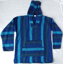 Psychedelic Blue Striped Hooded Drug Rug Hippie Baja Jacket - Mens XL Hoodie