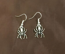 Tone w Silver Plated Wires Earrings Spooky Scary Spider Arachnid Silver