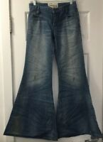 NEW Free People Elephant Super Wide Leg Flare Jeans w/ Distressing Tencel