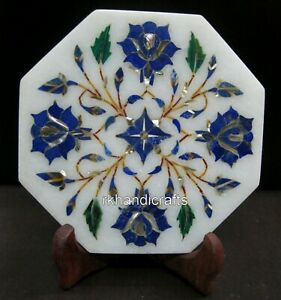 05 Inches Marble Corporate Plate Lapis Lazuli Stone Inlay Collectible Plate