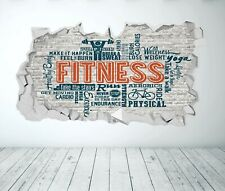 FITNESS WALL STICKER 3D LOOK - GYM BEDROOM EXTREME SPORT WALL DECAL Z1286
