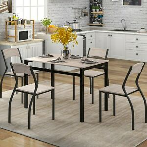 5-Piece Steel Frame Dining Set for Kitchen or Dining Room Country Style