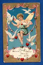 Cupid and Dove VINTAGE EMBOSSED POSTCARD 984