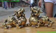 chinese fengshui brass money coin brave troops pixiu wing unicorn 2 beast statue