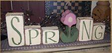 PRIMITIVE BLOCK SIGN~~SPRING WORD~~FLOWER~~SPRING DECOR~~
