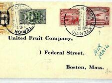 ECUADOR Cover 1s Air Mail Stamp SUPER FRANKING 1934 Boston USA {samwells}CQ198