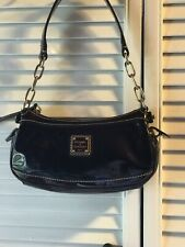 💖Cute Dooney Bourke Handbags Mini Zip Top Black And Dark Brown Patent Leather