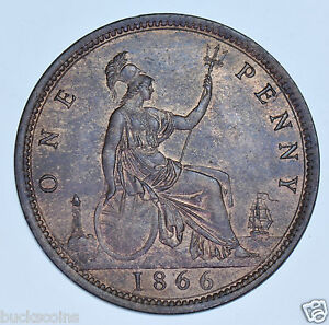 1866 PENNY BRITISH COIN FROM VICTORIA AU