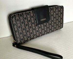 New Fossil Madison zip clutch wristlet wallet Black Brown with Dust bag