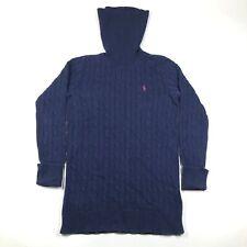 Ralph Lauren Sport Womens M Blue Cotton Sweater Turtleneck Cable Knit Longline
