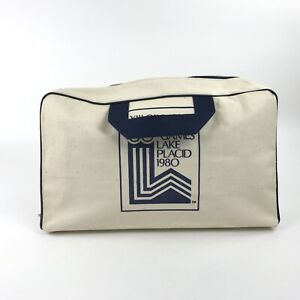 1980 Lake Placid Olympic Winter Games Tote Bag Canvas Zipper Duffle Gym Travel