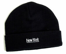 Hommes Bleu Marine New York Logo Beanie Hat Ribbed Taille