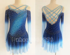 New Ice Figure Skating Dress Figure skaitng Dress For Competition Blue braid