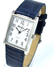 Ravel Mens or Ladies Classic Watch with Blue Strap Clear White Rectangular Dial