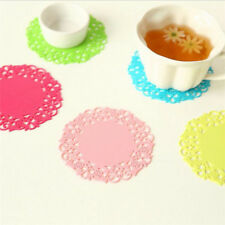 1* Lace Flower Doilies Silicone Coaster Tea Cup Mats Pad Insulation Mug Placemat