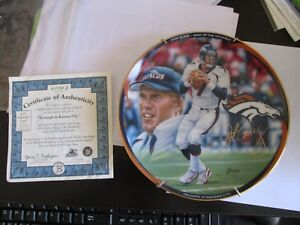 john elway king of the mountain collection (triumph in kansas city ) plate COA