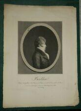 """QUENEDEY Edme """"Portrait de Boieldieu"""" 1811, dessin au physionotrace gravé"""