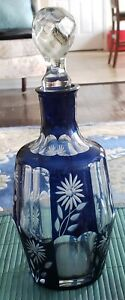 ANTIQUE CZECH BOHEMIAN COBALT HAND CUT TO CLEAR DECANTER