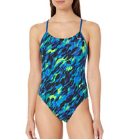 TYR Women's Draco Cutoutfit-Y One Piece Swimsuit Blue/Green 487 Size 22 NEW