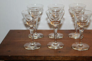 Lot of 6 Vintage Cordial Glasses Optic Cut Etched Stemware Toasting Barware