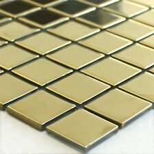 Glas Mosaik Gold Uni 25x25x4mm