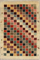 Remarkable Multi-Color Checked Plush Gabbeh Persian Oriental Modern 3x4 Wool Rug