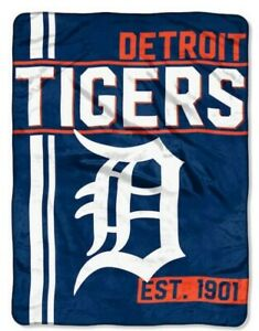 "The Northwest MLB Detroit Tigers Throw Blanket Plush Walk Off 46""x60"" Navy Blue"