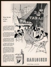 1953 AD SWISS GAULOISES CIGARETTE BAR TABAC OUTDOOR SCENE