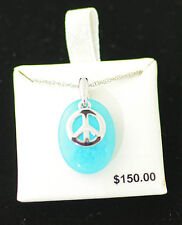 Blue Quartz Peace Sign Necklace .925 Sterling Silver, 18 inches