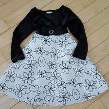 DOLLY &ME ♡ LITTLE  GIRL'S BLACK VELVET WHITE ♡ SEQUINED TIE BACK DRESS ♡ Size 5