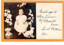 Studio Real Photo Postcard RPPC - Easter Greetings Baby Eggs Bunny and Lilies