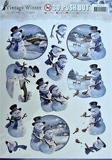 A4 Die Cut 3d Paper TOLE Decoupage Push out Sheet Christmas Snowman Scenes
