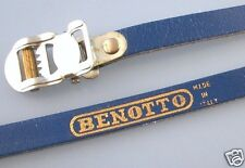 Pair of Vintage leather pedal straps 'Benotto' (blue) - NOS