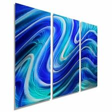 Vibrant Blue & Aqua Abstract Wall Art - Modern Metal Painting - Serenity Pool 3