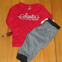 NWT Carters Girls Christmas Pajamas Santa's Little Helper Red Striped 2 Pc Sz 4T